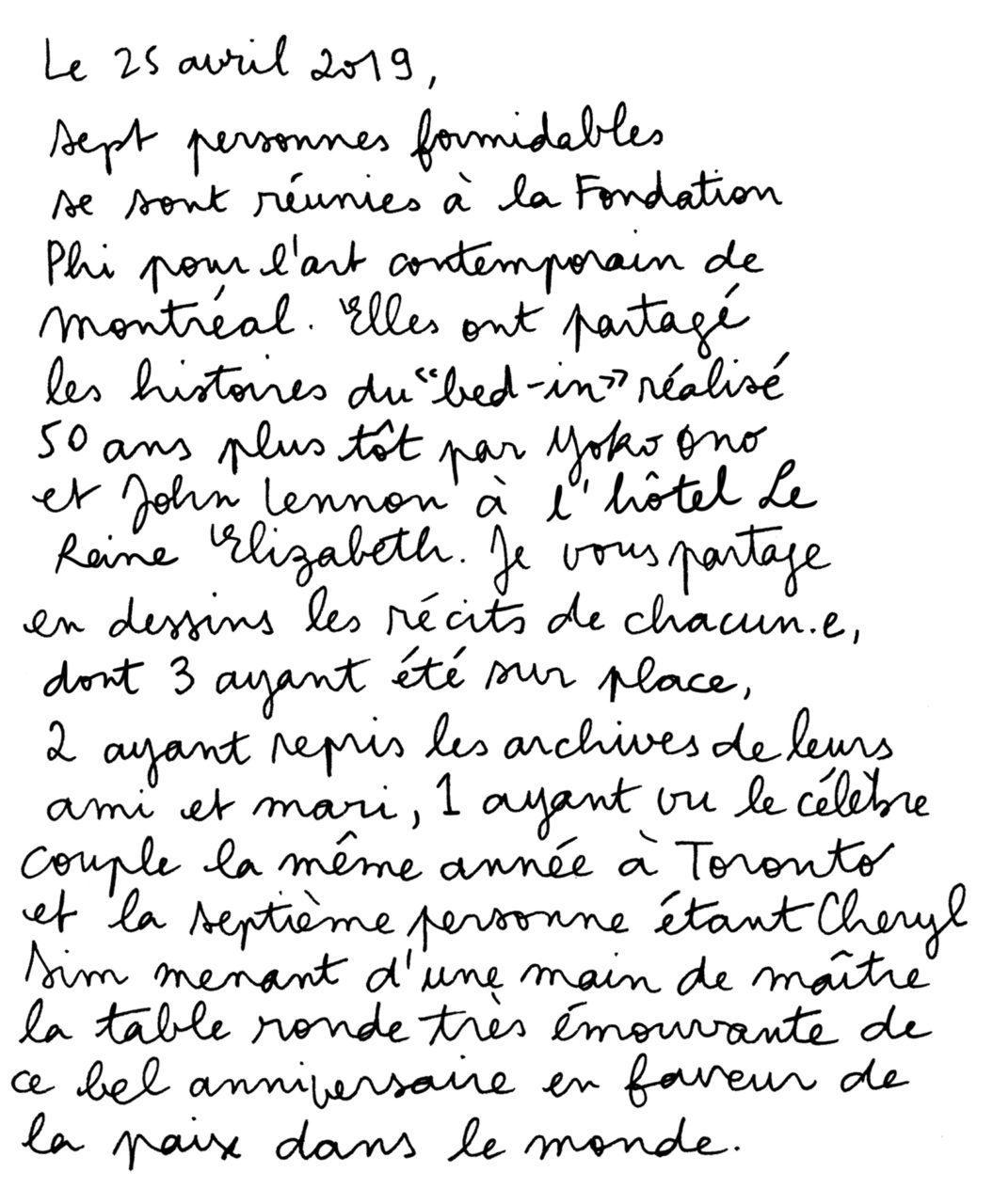 Yoko Ono et John Lennon: bed-in à Montreal - Texte